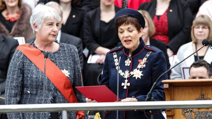 And at the swearing in of new Governor-General Dame Patsy Reddy at Parliament. Dame Patsy takes the Affirmation of Allegiance under the guidance of Chief Justice Dame Sian Elias.