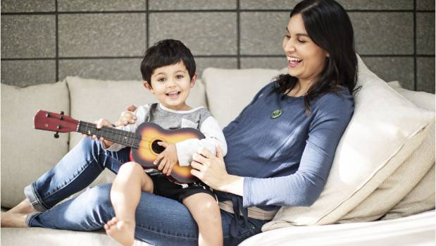 Nadia Lim at home in Grey Lynn with her two-year-old son Bodhi. Lim and her husband put away their devices at dinner ...