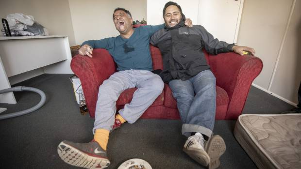 Tony, a formerly homeless man who has been housed by Housing New Zealand and the Downtown Community Ministery, with Robert Sarich, community outreach worker, in Tony's one-bedroom flat.