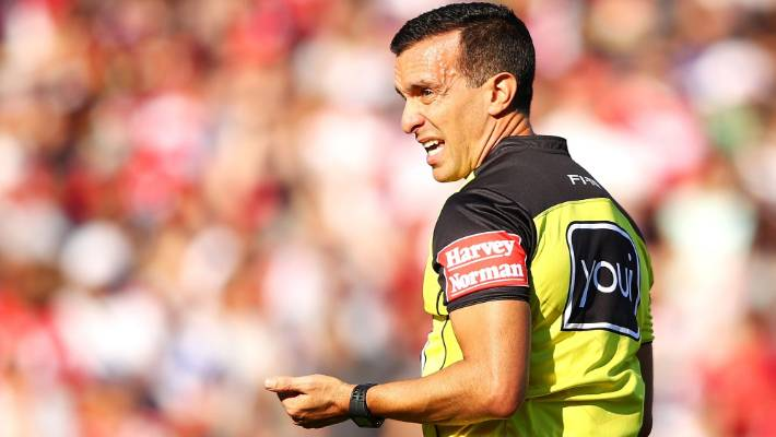 7c2e98dd286 Referee Matt Cecchin is retiring from the NRL at the end of his season.