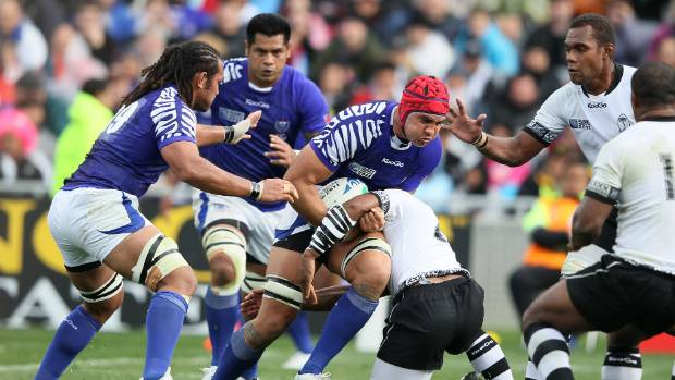 Danl Leo in action for Samoa against Fiji at the Rugby World Cup in 2011.