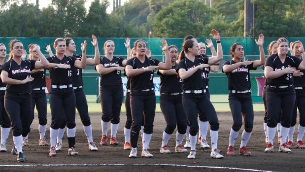 The New Zealand White Sox perform a haka in Japan, which prompted Chinese Taipei players to throw salt on the softball ...