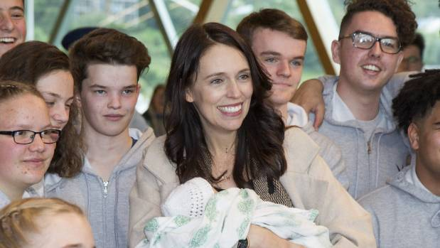Nayland College students serenaded Jacinda Ardern, who arrived in Wellington for a return to work six weeks after the ...