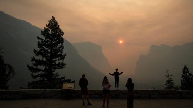 Smoke from the Ferguson fire fills Yosemite Valley in Yosemite National Park California