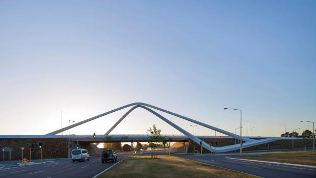 The Memorial Bridge, close to Christchurch Airport, was designed by leading national architecture firm Warren and Mahoney.