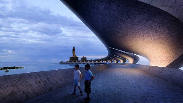 Young Auckland architecture firm Monk Mackenzie designed this sweeping 500-metre long Vivekananda Bridge connecting the ...
