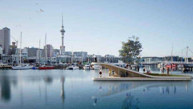 An illustration of an island project in the Viaduct precinct in Auckland designed by urban landscape designers LandLAB