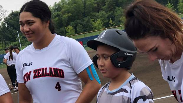 Palls Potter (4) has made her mark at the world softball championships with a home run against Puerto Rico.