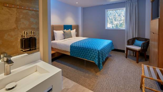 The hotel rooms at Mi-pad Queenstown are designed to be simple while providing all the basics.