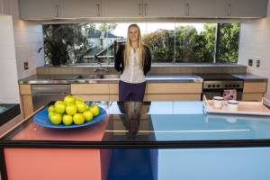 Felicity Clark has transformed the kitchen, introducing bright pops of colour.