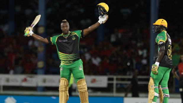 Andre Russell of Jamaica Tallawahs reaches his 100