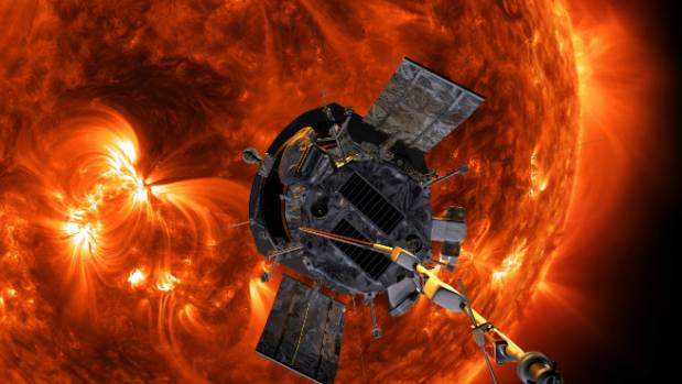 An illustration of the sun-bound Parker Solar Probe