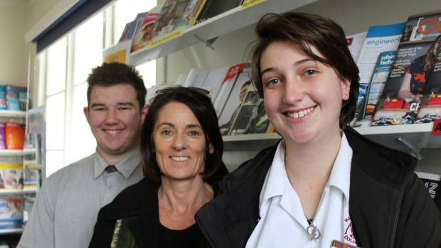 Year 13 student Samuel Crozier, careers adviser Susan Hancock and Year 12 student Naomi Turner. Matamata College is ...