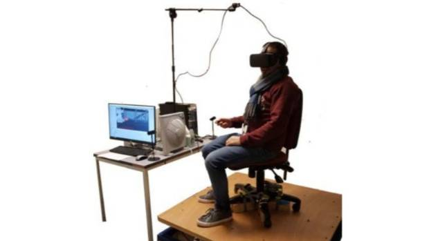 A vibrating base and virtual reality kit was used to simulate the events of an earthquake.
