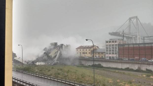 Motorway bridge collapses over Genoa