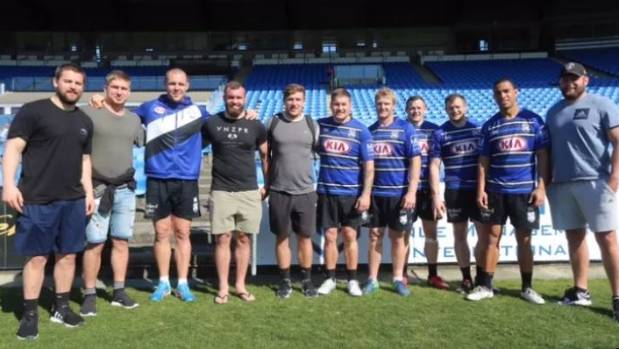 All Blacks and Bulldogs: From left, Dane Coles, Jack Goodhue, David Klemmer, Liam Coltman, Nathan Harris, Greg Eastwood, ...
