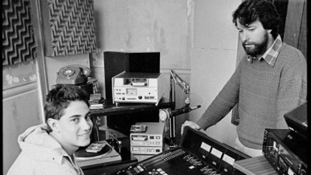 Piripi Walker, right, and Tama Te Huki in the studio of the Wellington Maori language radio station, Te Ūpoko o Te Ika, ...