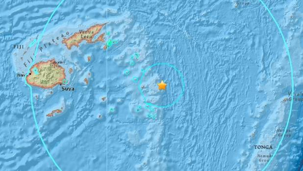 The earthquake struck in the Pacific Ocean between Tonga and Fiji the US Geological Survey said
