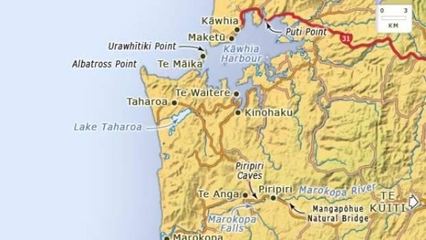 The trio surfed to Te Māika Point on Thursday, August 16, near Taharoa.