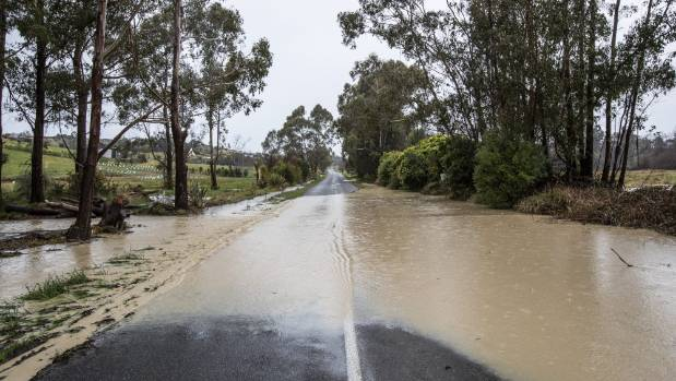 Permin Road, in Tasman is flooded Monday after heavy rainfall.