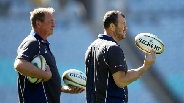 Wallabies coach Michael Cheika, right, and former All Blacks skills coach Mick Byrne at training.