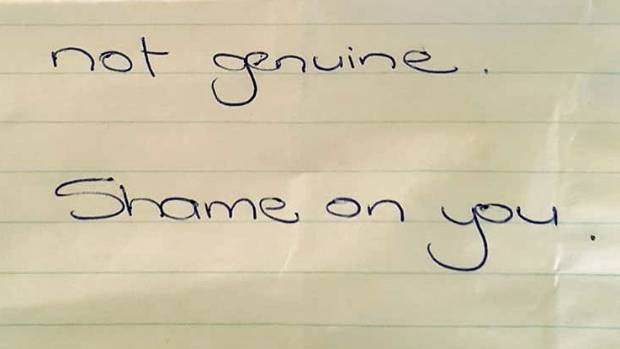 Paul Francis returned after a dive in his car with his children to discover the note. His son, who has cerebral palsy, ...
