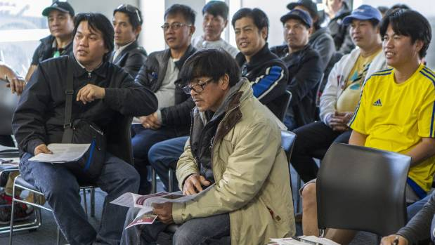 Migrant Filipino construction workers at the E tū meeting in Christchurch on Sunday.