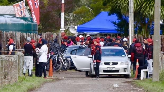 """Gang members gather in Whanganui at Parikino marae for the funeral of slain Mongrel Mob member Kevin """"Kastro"""" Ratana."""