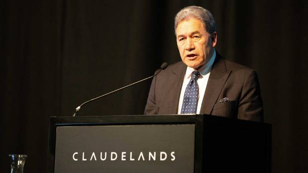 Minister of racing cars Winston Peters issues the Messara race assessment at the Claudelands Conference Center in Hamilton.