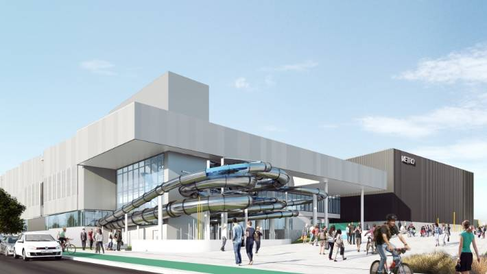 An artist's impressions of the metro sports facility, a Christchurch anchor project.