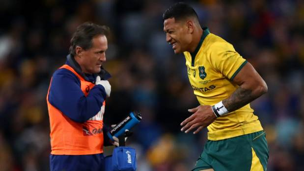 Wallabies fullback Israel Folau grimaces as he leaves the field during the first Bledisloe test in Sydney last month.
