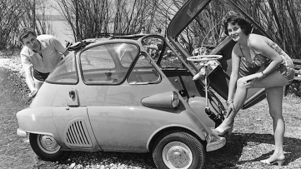 The BMW Isetta bubble car had a front door that folded back along with the steering wheel. Beaven's Isetta was gun metal grey.