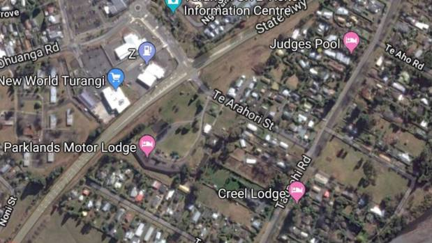 The grassy land to be developed is between Parklands Motor Lodge, State Highway 1 and Te Arahori St, at centre of this ...