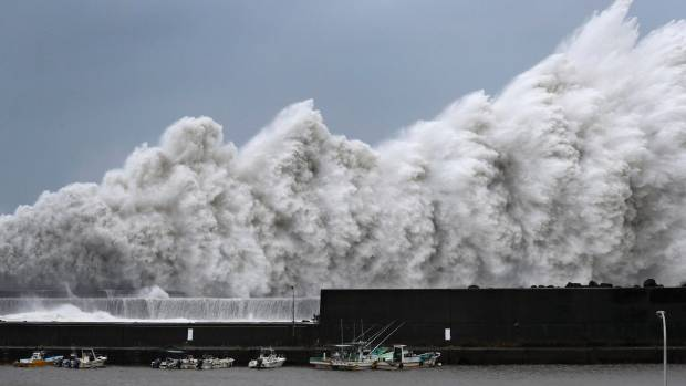 High waves hit breakwaters at a port of Aki in the Kochi prefecture in Western Japan (file photo).