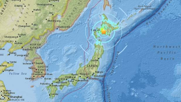 "Shaking from the quake early Thursday morning measured an ""upper 6"" on the Japanese quake intensity scale of 7 in Abira ..."