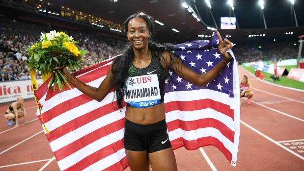 United States' Dalilah Muhammad celebrates after winning the women's 400m hurdles race during the Weltklasse IAAF ...