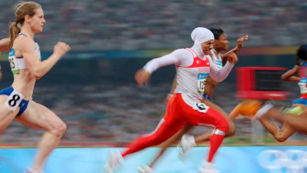 Bahrain's Roqaya Al Gassra strides out at the 2004 Olympics in Athens.