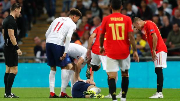 England's Luke Shaw raised concerns after landing heavily and banging his head