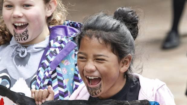 The eight-year-old Maani Te Hau, left and Te Aniwaniwa Hori-Temara, 8, of Naenae Primary Kohanga Te Ra were among ...