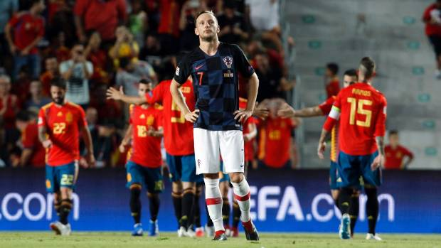 Croatia midfielder Ivan Rakitic wasn't too happy with his team's performance against Spain