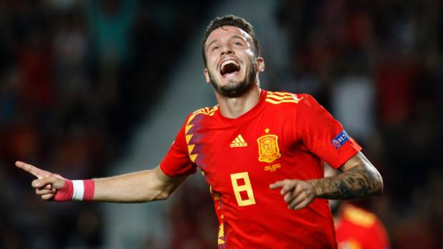 Spain's Saul Niguez celebrates after scoring his side's opening goal