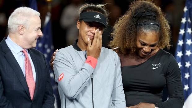 Naomi Osaka of Japan and Serena Williams of the United States after a controversial women's US Open final.