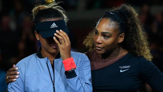 Serena Williams comforts US Open winner Naomi Osaka of Japan.