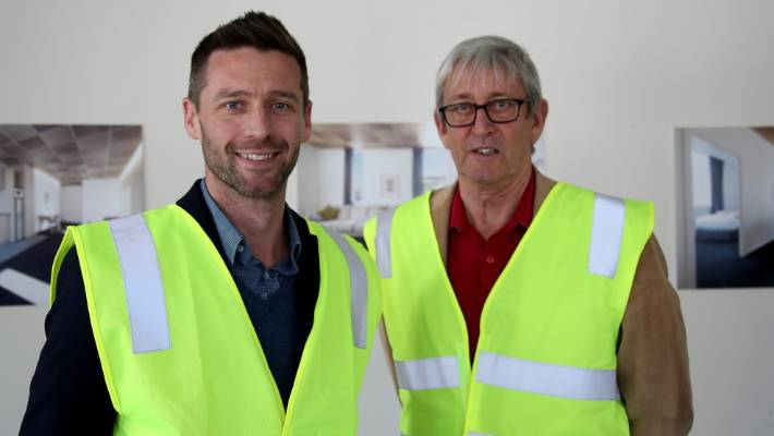 The Wellington Company director Ian Cassels, right, and his son Alex Cassels, left, are working with Wellington City Council to create 35 new inner-city apartments.