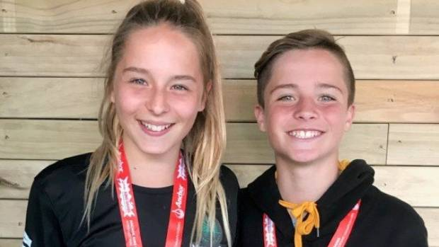 Kiana Stevenson, who helped Murray's Bay to the Anchor AIMS Games netball title, with her twin brother Bailey who won ...