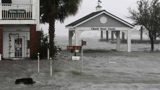 High winds and water surround buildings as Hurricane Florence hits Front Street in downtown Swansboro N.C.