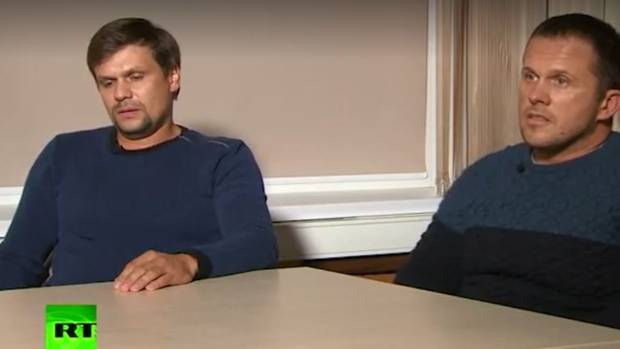 Two Russians appeared on state television on Thursday, saying they had been wrongly accused by Britain of trying to murder a former Russian spy and his daughter in England.