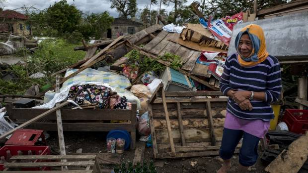 Typhoon Mangkhut battered northern Philippines as it made landfall on Saturday morning.