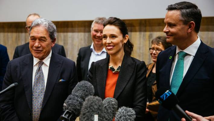 Deputy Prime Minister Winston Peters, Prime Minister Jacinda Ardern and Green Party leader James Shaw showed a unified front.