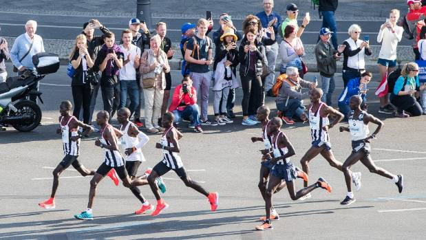 Elite runners Wilson Kipsang and Eliud Kipchoge with pacers at the start of Berlin marathon
